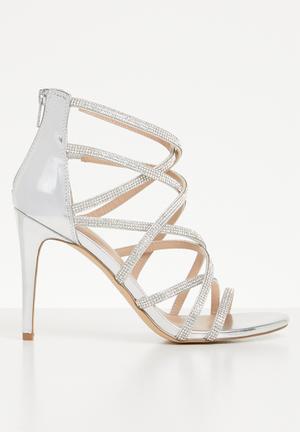 8d774428d79b Rhinestone embellished criss-cross stiletto heel - silver