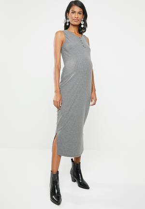 d1c60d880c9 Button down ribbed dress - grey