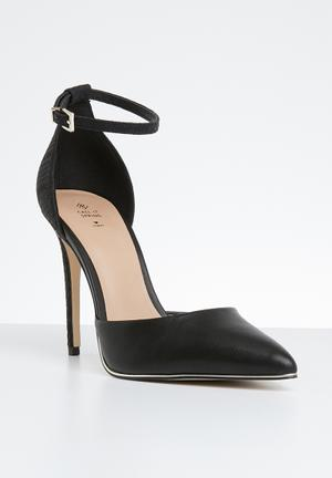 99dfc20a511 Snake skin combo ankle strap heel - black