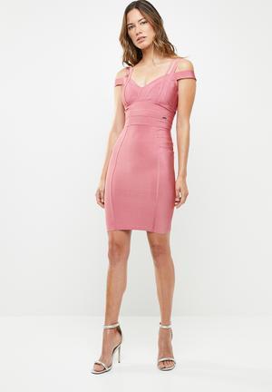 58473494446d Bandage dress with straps detailing - pink