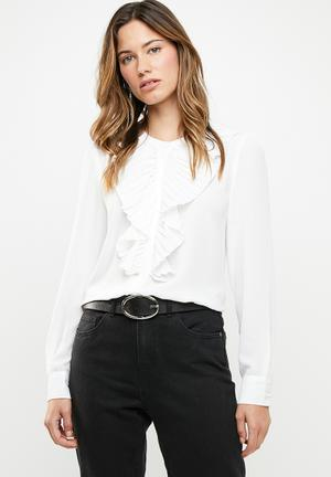 aed9f2c7a0691 Alicante pleat flounce blouse - white