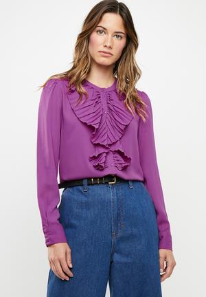 1402e3f0843862 Alicante pleat flounce blouse - purple