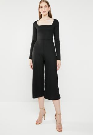 77829e826c Square neck rib culotte jumpsuit - black
