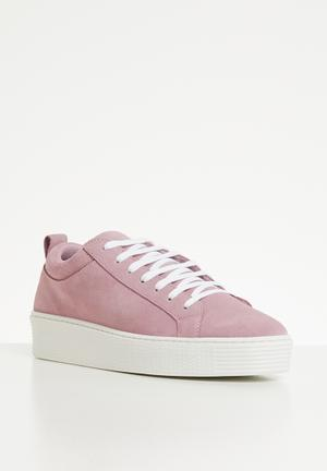 b5b8260d3ee2 Leather lace-up flatform sneaker - misty rose