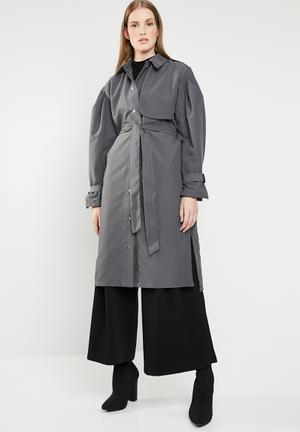 Puff sleeve coat - grey
