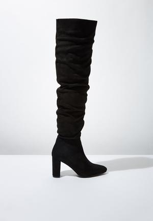 Faux leather knee lengthslouch boot - black