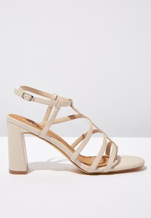 dca38343dbb Faux leather strappy toe post heel - neutral