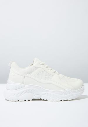 official photos bd7d7 0919a Textile chunky flatform sneaker - white