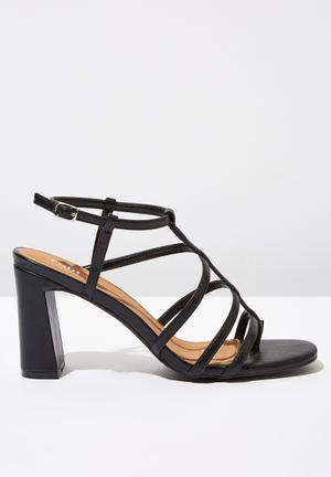 fd3544dcb86 Faux leather strappy toe post heel - black