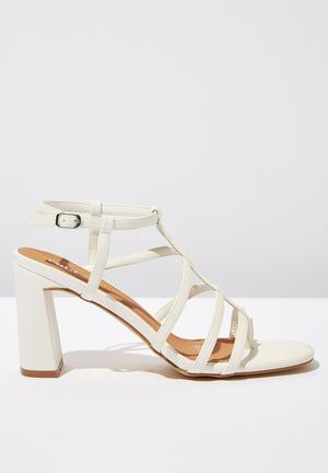 88c1f6b25afa Faux leather strappy toe post heel - white