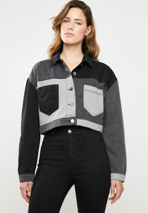 03dad0ccc397 Oversized roll neck sweater dress - black. By Missguided R499. Quick View.  Colour block patchwork denim jacket - black