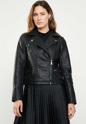 Annabelle embroidered faux leather biker - black