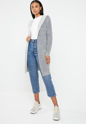 4beefb72b947 Knitted shawl coat - blue   grey