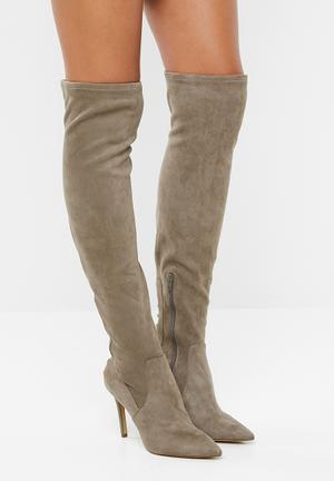b80a9713fd6 Faux suede over-the-knee boot - taupe