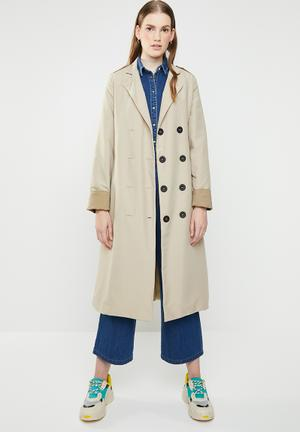 Contrast trench twill - beige