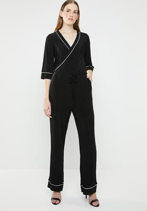 62c7ccf8e9 Anni 3 4 sleeve wrap jumpsuit - black   white
