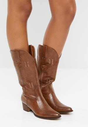 Rustic calf-length boot - brown