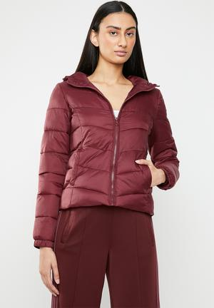 North quilted panel hooded jacket - red