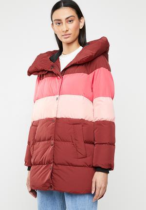 Mari blocked padded coat - multi