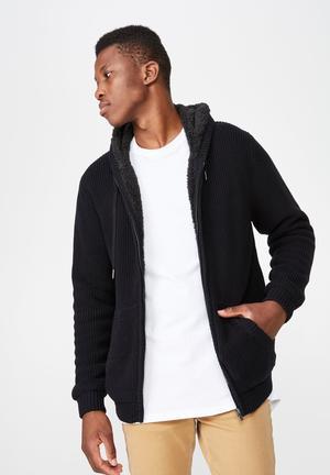 68fa67057149ee Zip thru sherpa hoodie - black