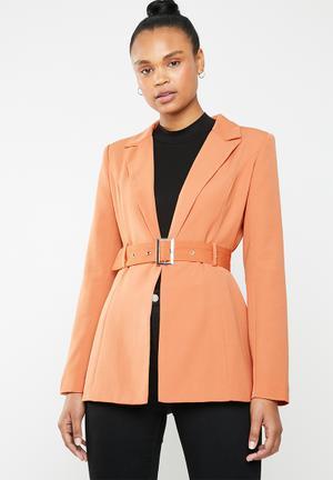 Belted co ord jacket - orange