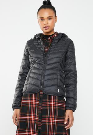 Demi hooded puffa jacket - black
