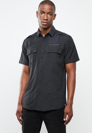 04f0edf628bb02 Arjen zip detail shirt - black