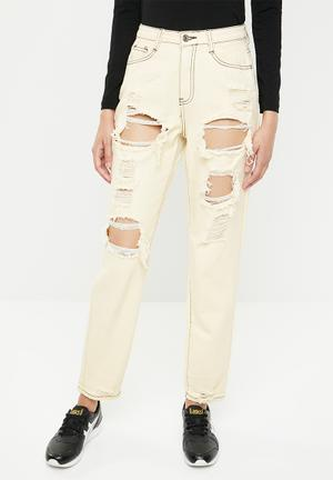 8b7f3955ba09 Riot busted knee high rise mom jean - yellow