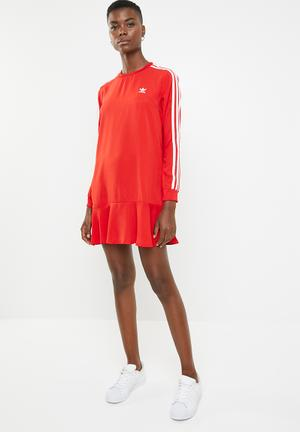 5e8c5967a54 Adidas frill casual dress - red