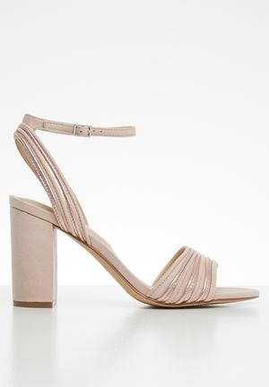 9e8a7e28ff08 Metallic combo ankle strap heel - pink