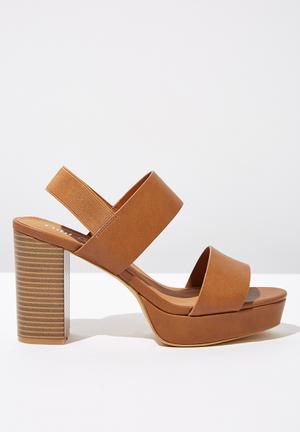f2ac6ab3d Faux leather platform heel - tan