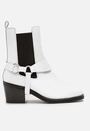 Music 1 leather ankle boot - white