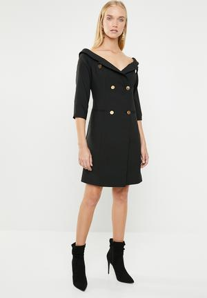 fb33674ced9 Double breasted blazer dress - black