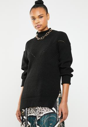 0ccbaec849a Funnel neck knit with side slits - black