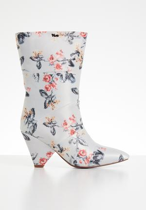 a0710e1779d Floral print calf-length boot - light grey