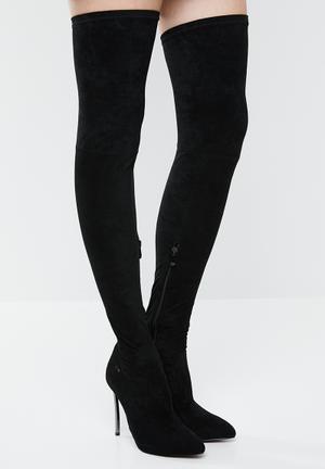 Thigh high stiletto boot - black