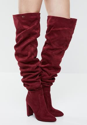 Ruched over the knee boot - burgundy