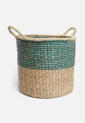 Brody striped seagrass basket – natural/blue