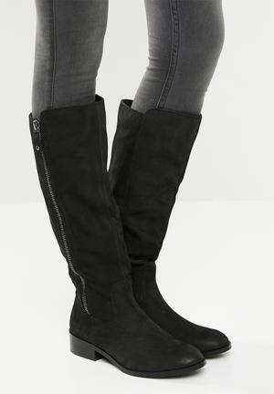 4376c9a1a2c Leather zip embellished knee-length boot - black