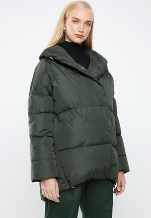 Quilted oversized puffer - green