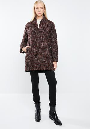 Flecked wool-blend coat - burgundy