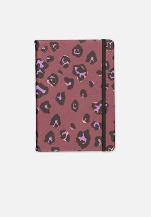A5 fabric undated daily diary - purple