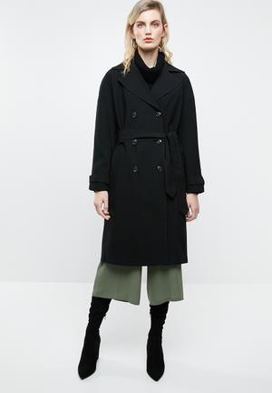 Emilia long trench coat - black