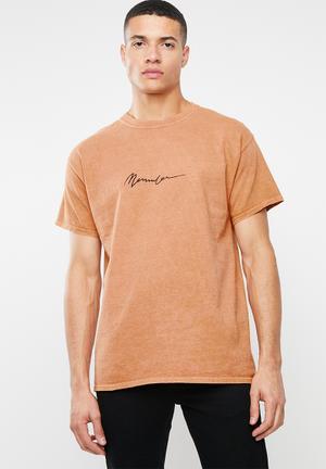 Embroidered signature tee - orange