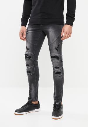 Trench motorcross jeans - black
