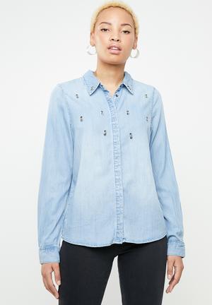 cc488994a69 Cindy rhinestone-like shirt - blue