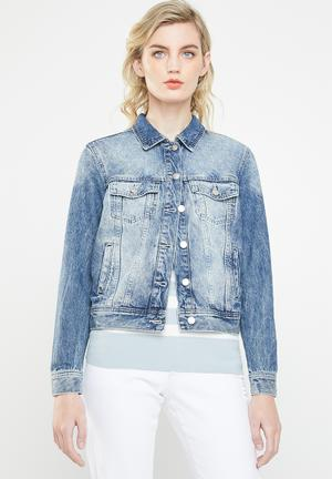 Kaily denim embroidery detail  jacket - blue