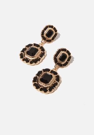 Penny romance earring - black & gold