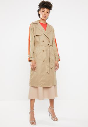 Isabella long trench - neutral & orange