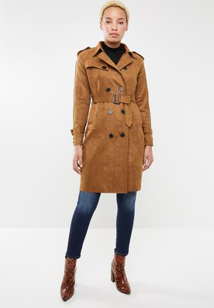 Lupin soft suede trench coat - tan